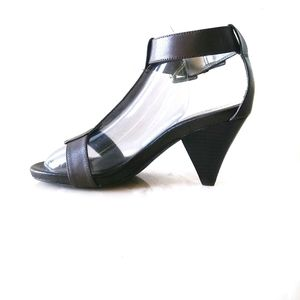 Marc Fisher Brown Leather T-Strap Heels